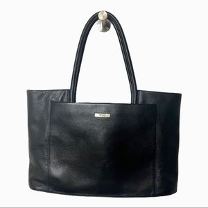 TUMI Large Black Leather Satchel Tote Handbag